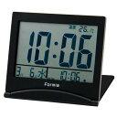 【クーポンあり】FORMIA デジタル目覚まし時計 折りたたみ トラベルクロック ブラック HT-006 携帯性に優れた薄型目覚まし時計。