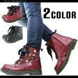 スタッズ付きサイドジップレースアップブーツ《全2色》レディース ブーツ ワークブーツ 靴 ロック パンク ドクターマーチン(Dr.Martens)ではありません マーチン 6ホール ladies boots