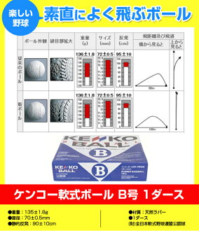 Kenko softball ball B of 1 dozen: fs3gm