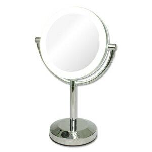 【拡大鏡】5倍拡大+等倍鏡+LEDライト付き 真実の鏡DX 両面型 しっかり見える拡大鏡+くるっと返せば等倍鏡でとっても便利★電池でもコードでも使える 角度調節可 (かがみ カガミ ミラー 丸 メイクミラー 化粧鏡 スタンド 卓上 近視 老眼鏡 おすすめ オススメ)