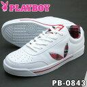 PLAYBOY Bunny プレイボーイ レディース スニーカー PB-0843 ホワイト/レッド PB0843PSsale