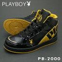 PLAYBOY Bunny プレイボーイ バニー PB-2000 ブラック/ゴールド レディースハイカット スニーカー 替え紐付き PSsalePB2000