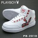 PLAYBOY Bunny プレイボーイ バニー レディース スニーカー PB-2010ホワイト/レッド 替え紐付き PB2010