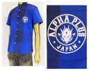 ALPHA PLUS アルフアプラス コラボ用アイコンのドラゴン ブロック 半袖 シャツ メンズ 【51SH08ブロックドラ】