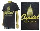OFFICIAL LICENSE オフィシャル ライセンス USハリウッド本社 円盤はレコード盤を、棒はレコード針を表現しているキャピトル・タワー Tシャツ メンズ 【6291003 CAPITAL】 align=