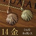 ネックレス 女性 【K14 シェル ネックレス】ハワイアンジュエリー ハワジュ Hawaiian jewelry Puaally プアアリ 14金 ゴールド 貝 シェル ビーチ 海 プレゼント クリスマス 華奢 あす楽