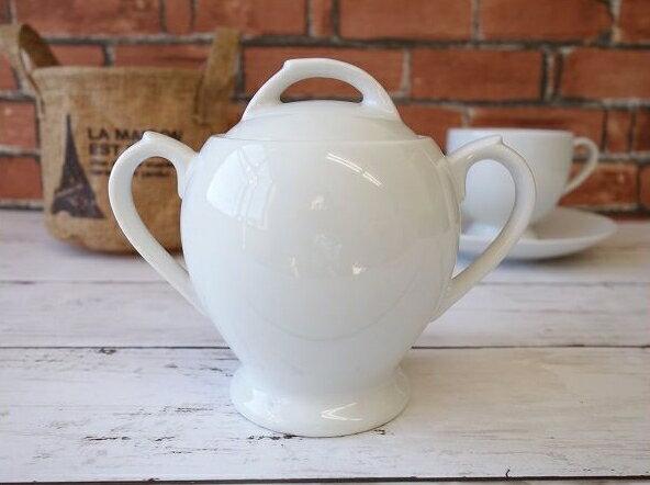 洋食器アメリカンコーヒーシュガーポット陶器白い食器カフェ食器砂糖入れ蓋物陶器シュガーディスペンサー