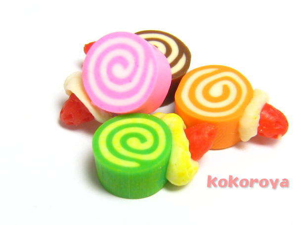 イチゴロールケーキ 1個 (10mm×13mm) ☆ネコポスOK☆