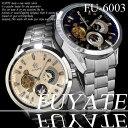 自動巻き,メタルバンド24針 ムーンフェイス腕時計・メンズウォッチ(ケース&保証書付付き)メンズ腕時計/4155806-FU-6003