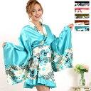 着物ミニドレス 花魁 ペイズリー柄サテンミニ着物ドレス 衣装 和装 ダンス コスプレ コスチ