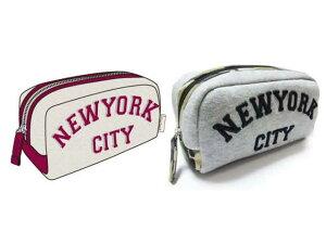 NEW YORKバリエ角マチポーチ ベージュ 立体刺しゅうの
