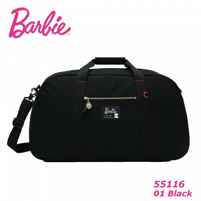 ※ Barbie アッシュ トラベルボストン【ブラック】 バービー ボストンバッグ 旅行バッグ 55116 修学旅行 バッグ レディース 大容量 ナイロン