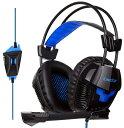 PS4ゲーミングヘッドセット KINGTOP K11シリーズ 高集音性マイク付 (ブラック/ブルー)...