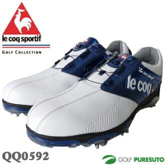 勒科克高爾夫鞋高爾夫球鞋 QQ0592 白 × 藍光腳跟撥號 WLS [le coq sportif 鞋]