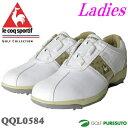 【即納!】【レディース 女性】ルコックゴルフ ゴルフシューズ QQL0584 ホワイト×シャンパンゴールド ヒールダイヤル式WLS[le coq sportif 女性用 靴]【あす楽対応】