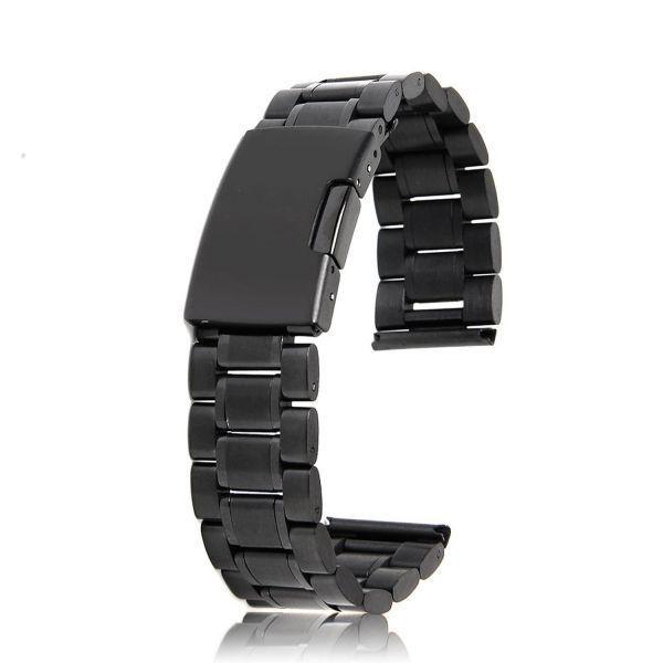 腕時計 ベルト 20mm ステンレス 黒 3連 直カン
