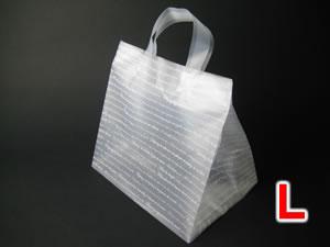 【100枚】 角底ポリ手提げ袋(角底ループ袋) Lサイズ