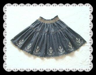 ★Denim skirt 10P30Nov13 which hem one round embroidery flower has a very cute