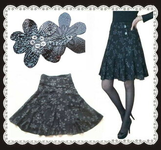 A beautiful sequin fully embroidered flower flare skirt