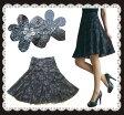 【48時間限定!大特価】ランキング1位♪とても綺麗なスパンコール全面花刺繍フレアスカート 美脚効...