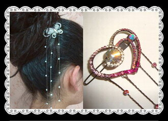 Large drop of heart hairpin (yukata, hairstyle arrangement パッチン flagging down, hair ornament, hair accessories) that a rhinestone shining to and fro is clean