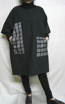 無地の紬に高級絣の創作パッチあなたのためのご機嫌チュニック1号橋 綿100% 大きいサイズ30代.40代.50代.60代のための個性派シニア・レディースファッション