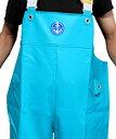 ショッピングターコイズ 水産マリンレリー 高耐久タイプ 胸付ズボン タフ ターコイズ Lサイズ(イエロー肩ベルト)納期4日〜90日<釣り、漁業関係など>