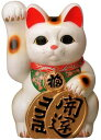 常滑焼 招き猫 梅月 開運白手長小判猫(右手)10号 高さ:35cm