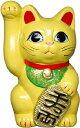 常滑焼 招き猫 美園 風水手長小判猫(右手) 黄色 3号 高さ:10cm
