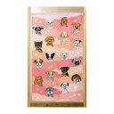 市松柄レースのれん 18匹の犬ピンクと花 850×H1500 41975