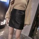 2017秋と冬の自己栽培PUレザースカートの女性は、背の高い、薄いウエストワードパッケージヒップハーフレングススカート