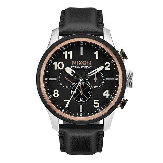 【送料無料】国内正規品 NIXON ニクソン THE SAFARI DUAL TIME LEATHER メンズ腕時計 NA10822051-00【新品】【RCP】【02P12Oct14】 ポイント10倍★2年保証