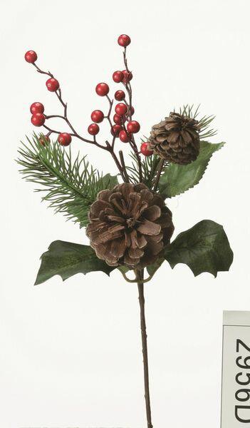 《 クリスマス 造花 葉っぱ 》花びし/ハナビシ パインコーンスプレー グリーン/レッドインテリア
