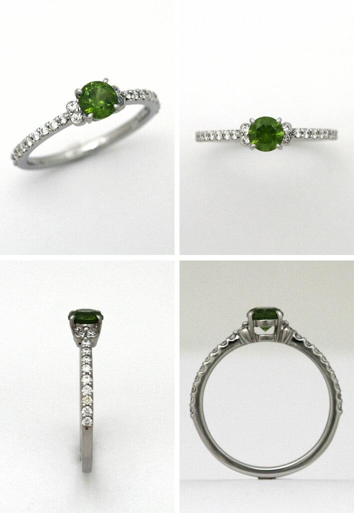 プラチナ デマントイドガーネット 0.55ct ダイヤモンド 0.194ct エンゲージリング 深みある黄緑色が鮮やかで美しい