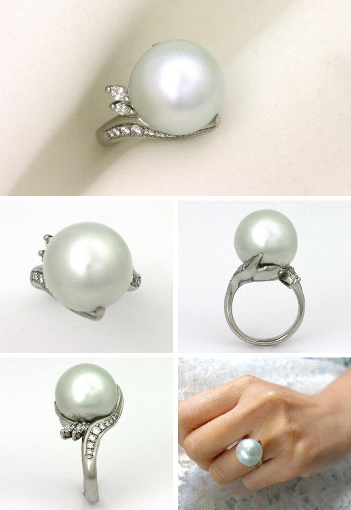 パールリング プラチナ 南洋真珠 15.6mm ダイヤモンド 0.381ct 吸い込まれるようなてり(光沢)と巻きの美しい