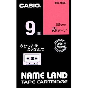 CASIO ネームランド テープカートリッジ(スタンダードテープ・9mm) XR‐9RD (赤×黒文字)