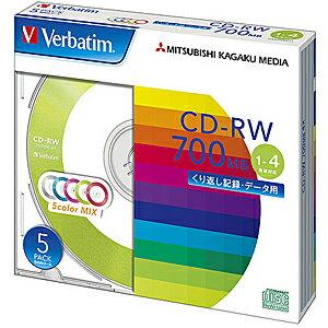 三菱化学 データ用CD−RW(1−4倍速対応/700MB)5枚パック SW80QM5V1