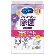 ユニチャーム (シルコット)ウェットティッシュ 除菌アルコールタイプ つめかえ用40枚入×3個(120枚入) シルコットジョキンウェットアロエカエ