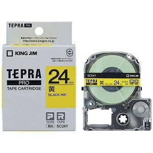 キングジム テプラ カラーラベルテープ(黄テープ...の商品画像