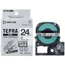 キングジム 強粘着ラベルテープ 「テプラPRO」(白テープ/黒文字/24mm幅) SS24KW (白)