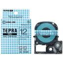 キングジム 模様ラベルテープ 「テプラPRO」 (チェック青テープ/12mm幅) SWX12BH (チェック青)