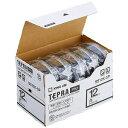 キングジム 白ラベルテープ 「テプラPRO」(黒文字/12mm幅・5個パック) SS12K‐5P (白)