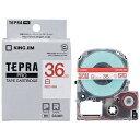 キングジム 白ラベルテープ 「テプラPRO」(白テープ/赤文字/36mm) SS36R (白)