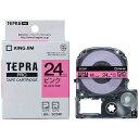 キングジム カラーラベルテープ 「テプラPRO」(ピンクテープ/黒文字/24mm幅) SC24P (ピンク)