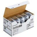 キングジム 白ラベルテープ 「テプラPRO」(黒文字/24mm幅・5個パック) SS24K‐5P (白)