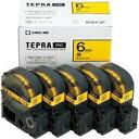 キングジム カラーラベルテープ 「テプラPRO」(黄テープ/6mm幅・5個パック) SC6Y‐5P (黄)