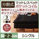 分割式ポケットコイルマットレスベッド 脚22cm 専用敷きパッドセット シングル マットレスベッド シングルベッド 脚付き 分割 脚付きマットレスベッド 脚付マット 脚付マットレス ベッド 子供部屋 一人暮らし ワンルーム 寝室 ベッドの下を有効活用