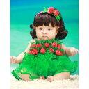 ベビー 赤ちゃん服 女の子 ドレス ノースリーブ 誕生日 ギフト プレゼント花 グリーン イミテーション パール ネックレス 売れ筋