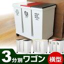 ゴミ箱 分別 ダストボックス 3分別ワゴン 横型 限定生産カラー ( キッチン ふた付き ごみ箱 )