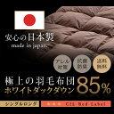 羽毛布団 シングル 掛け布団 掛布団 日本製 ホワイト ダック ダウン85% 1.0kg シング